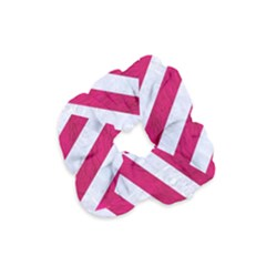 Stripes3 White Marble & Pink Leather Velvet Scrunchie by trendistuff