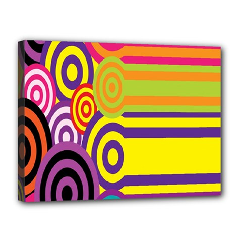 Retro Circles And Stripes 60s Canvas 16  X 12  by goodart