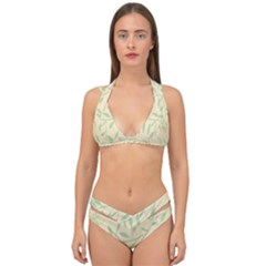 Leaves Vintage Pattern Double Strap Halter Bikini Set