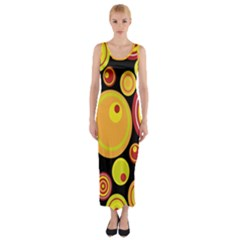 Retro Circles Background Yellow Fitted Maxi Dress