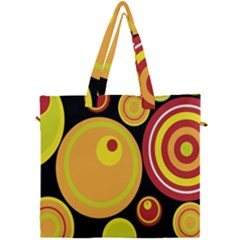 Retro Circles Background Yellow Canvas Travel Bag