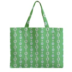 Retro Green Pattern Zipper Mini Tote Bag