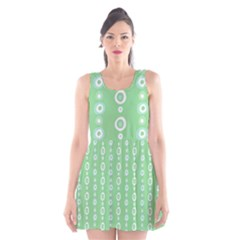 Retro Green Pattern Scoop Neck Skater Dress