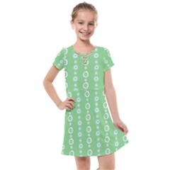 Retro Green Pattern Kids  Cross Web Dress
