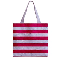Stripes2white Marble & Pink Leather Zipper Grocery Tote Bag by trendistuff
