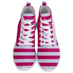 Stripes2white Marble & Pink Leather Men s Lightweight High Top Sneakers