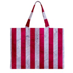 Stripes1 White Marble & Pink Leather Zipper Mini Tote Bag by trendistuff