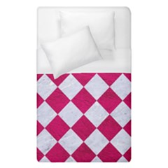 Square2 White Marble & Pink Leather Duvet Cover (single Size) by trendistuff