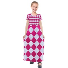 Square2 White Marble & Pink Leather Kids  Short Sleeve Maxi Dress