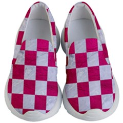 Square1 White Marble & Pink Leather Kid s Lightweight Slip Ons