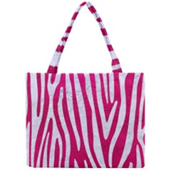 Skin4 White Marble & Pink Leather (r) Mini Tote Bag by trendistuff