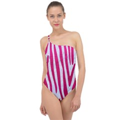 Skin4 White Marble & Pink Leather Classic One Shoulder Swimsuit