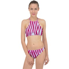 Skin4 White Marble & Pink Leather Racer Front Bikini Set by trendistuff