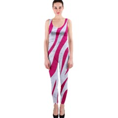 Skin3 White Marble & Pink Leather (r) One Piece Catsuit