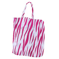 Skin3 White Marble & Pink Leather (r) Giant Grocery Zipper Tote