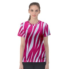 Skin3 White Marble & Pink Leather Women s Sport Mesh Tee by trendistuff