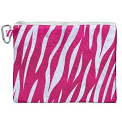 Skin3 White Marble & Pink Leather Canvas Cosmetic Bag (xxl) by trendistuff