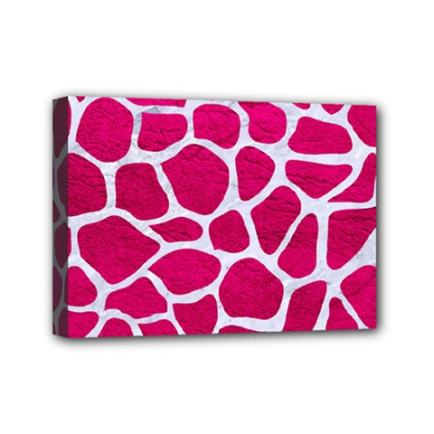 Skin1 White Marble & Pink Leather (r) Mini Canvas 7  X 5  by trendistuff