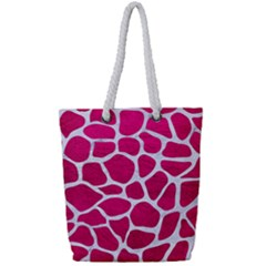 Skin1 White Marble & Pink Leather (r) Full Print Rope Handle Tote (small) by trendistuff