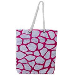 Skin1 White Marble & Pink Leather Full Print Rope Handle Tote (large) by trendistuff