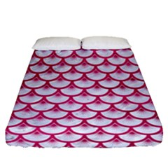 Scales3 White Marble & Pink Leather (r) Fitted Sheet (queen Size) by trendistuff