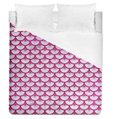 Scales3 White Marble & Pink Leather (r) Duvet Cover (queen Size) by trendistuff