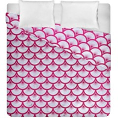 Scales3 White Marble & Pink Leather (r) Duvet Cover Double Side (king Size) by trendistuff