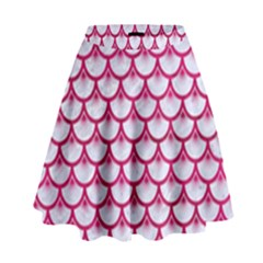 Scales3 White Marble & Pink Leather (r) High Waist Skirt by trendistuff