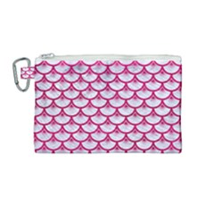 Scales3 White Marble & Pink Leather (r) Canvas Cosmetic Bag (medium) by trendistuff