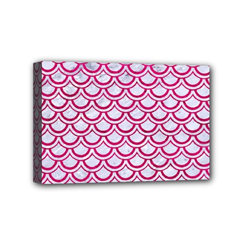 Scales2 White Marble & Pink Leather (r) Mini Canvas 6  X 4  by trendistuff