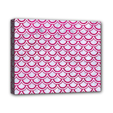 Scales2 White Marble & Pink Leather (r) Canvas 10  X 8  by trendistuff