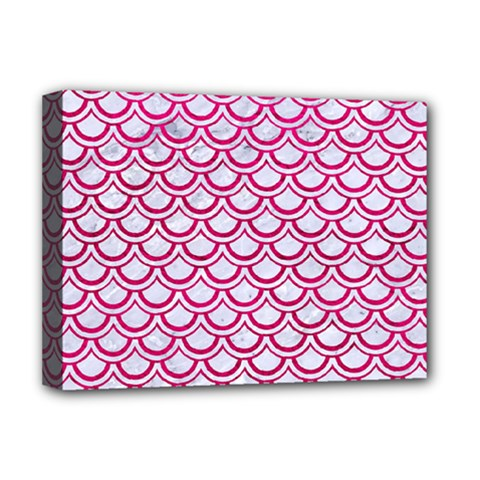 Scales2 White Marble & Pink Leather (r) Deluxe Canvas 16  X 12   by trendistuff