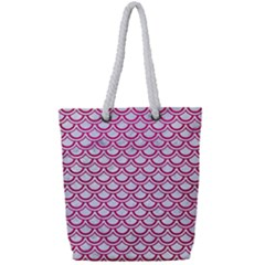 Scales2 White Marble & Pink Leather (r) Full Print Rope Handle Tote (small) by trendistuff