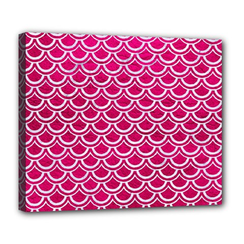 Scales2 White Marble & Pink Leather Deluxe Canvas 24  X 20   by trendistuff