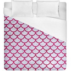 Scales1 White Marble & Pink Leather (r) Duvet Cover (king Size) by trendistuff