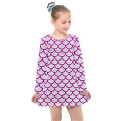 Scales1 White Marble & Pink Leather (r) Kids  Long Sleeve Dress