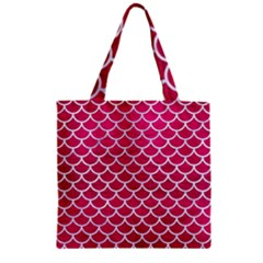 Scales1 White Marble & Pink Leather Zipper Grocery Tote Bag by trendistuff