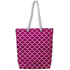 Scales1 White Marble & Pink Leather Full Print Rope Handle Tote (small) by trendistuff