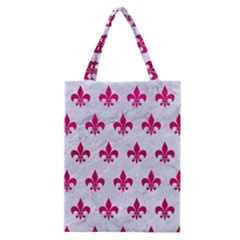 Royal1 White Marble & Pink Leather Classic Tote Bag by trendistuff