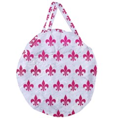 Royal1 White Marble & Pink Leather Giant Round Zipper Tote by trendistuff