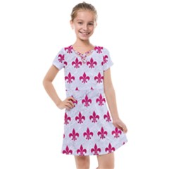 Royal1 White Marble & Pink Leather Kids  Cross Web Dress