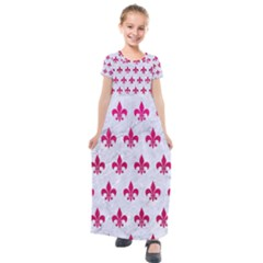 Royal1 White Marble & Pink Leather Kids  Short Sleeve Maxi Dress by trendistuff