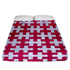 Puzzle1 White Marble & Pink Leather Fitted Sheet (california King Size) by trendistuff