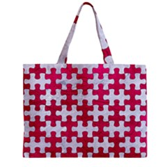 Puzzle1 White Marble & Pink Leather Zipper Mini Tote Bag by trendistuff