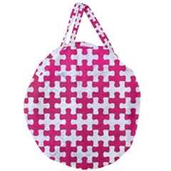 Puzzle1 White Marble & Pink Leather Giant Round Zipper Tote by trendistuff