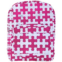Puzzle1 White Marble & Pink Leather Full Print Backpack by trendistuff