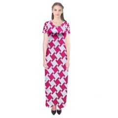 Houndstooth2 White Marble & Pink Leather Short Sleeve Maxi Dress