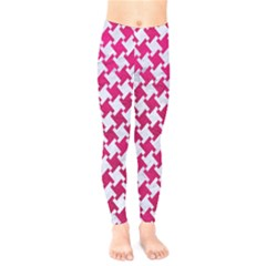 Houndstooth2 White Marble & Pink Leather Kids  Legging by trendistuff