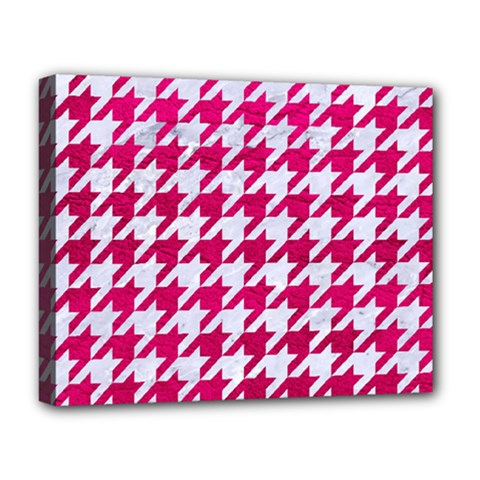 Houndstooth1 White Marble & Pink Leather Deluxe Canvas 20  X 16   by trendistuff