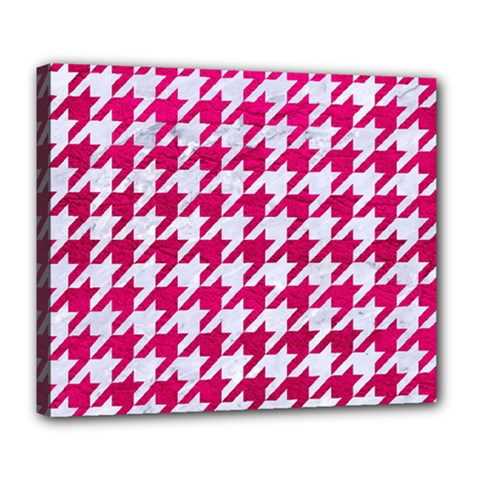 Houndstooth1 White Marble & Pink Leather Deluxe Canvas 24  X 20   by trendistuff